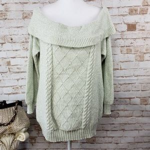 Off the shoulder knitted mint green sweater